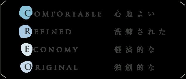 Comfortable心地よい Refined洗練された Economy経済的な Original独創的な